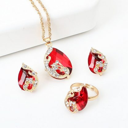 Charming Red Peacock Crystal Earrings Pendant Necklace Adjustable Rings Jewelry Set
