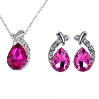 Graceful Pendant Chain Necklace Stud Earring Women Fashion Jewelry Sets