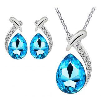 Graceful Pendant Chain Necklace Stud Earring Women Fashion Jewelry Sets