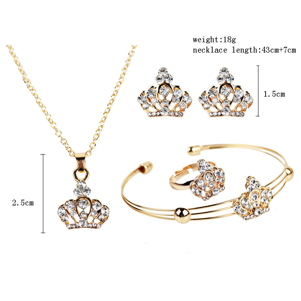 Crystal crown gold necklaces pendants earrings bracelet women crystal crown gold necklaces pendants earrings bracelet women jewelry set aloadofball Choice Image