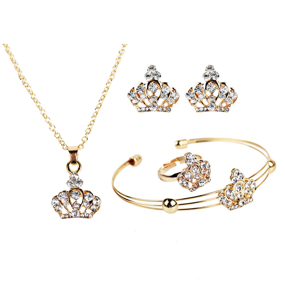 Crystal crown gold necklaces pendants earrings bracelet women crystal crown gold necklaces pendants earrings bracelet women jewelry set aloadofball Images