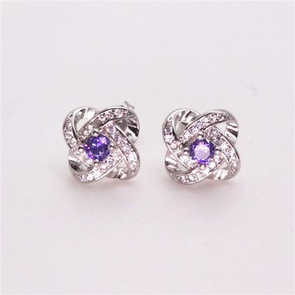 Elegant Purple Silver Plated Earrings Women Fashion Jewelry