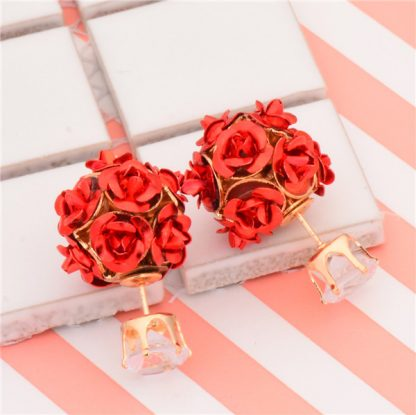 Double Side Rose Stud Earrings Crystal Earrings Women Fashion Jewelry