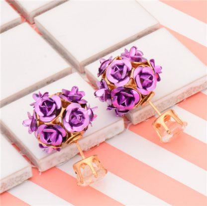 Double Side Rose Crystal Stud Earrings Women Fashion Jewelry