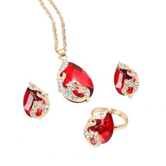Red Peacock Crystal Earrings Pendant Necklace Adjustable Rings Set