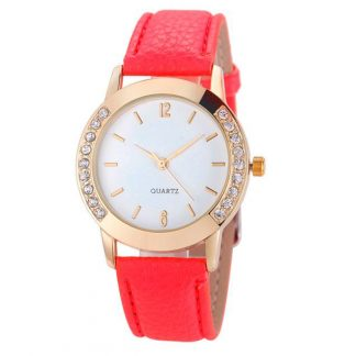 Round Surface Rhinestone Along Side Analog Quartz Women Watch