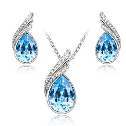 Crystal Rhinestones Earrings Necklace Women Fashion Jewelry Sets