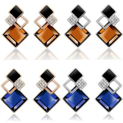 Blue/Brown Square Crystal Stud Earrings Women Fashion Jewelry