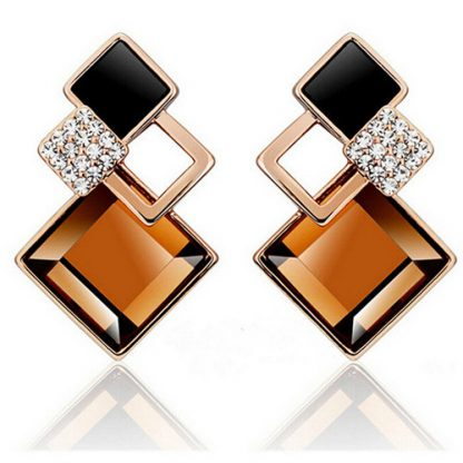 Brown Square Crystal Stud Earrings Women Fashion Jewelry