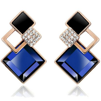 Blue Square Crystal Stud Earrings Women Fashion Jewelry