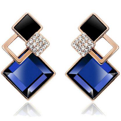 Blue Square Crystal Stud Earrings Women Fashion Jewelry