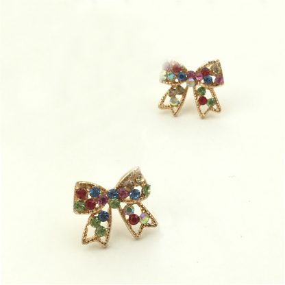 Multi-Color Crystal Golden Bowknot Earrings Women Fashion Jewelry