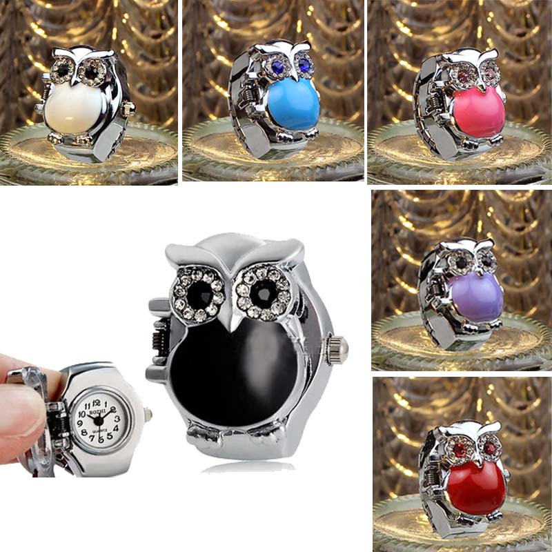 Owl Finger Watch Ring Women Fashion Jewelry