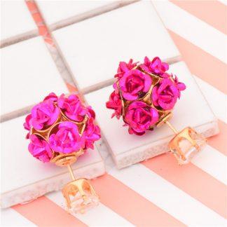 Double Side Rose Crystal Stud Earrings Women Fashion Jewelry