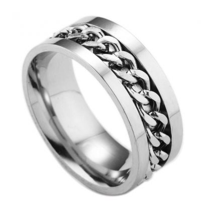 Titanium Steel Metal Chain Finger Ring Men Fashion Jewelry