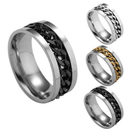Titanium Steel Chain Finger Ring Men Fashion Jewelry