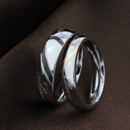 Heart Couple Titanium Steel Rings Men Women Fashion Jewelry