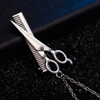 Barber Scissor Comb Design Women Girls Pendant Necklace