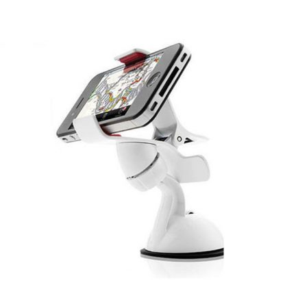 White Universal Car Windshield Mobile Iphone GPS Mount Holder