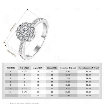 Clear Cluster Round Crystal Zircon Women Ring Fashion Jewelry