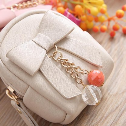 Small Bow Knot PU Leather Women Girls Coin Purse