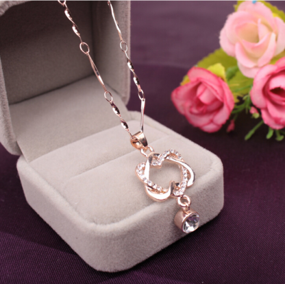 Double Heart Crystal Pendant Necklace Women Fashion Jewelry