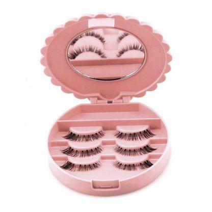 Acrylic Cute Bow False Eyelash Storage Mirror Case