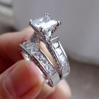 Crystal Engagement Wedding Women Fashion Jewelry Ring