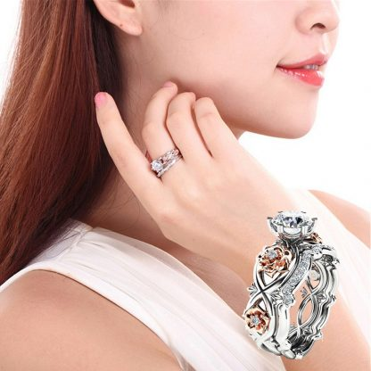 Beautiful Floral Women Fashion Jewelry Rings Set