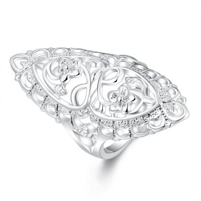 Silver Plated Floral Women Ring Fashion Jewelry