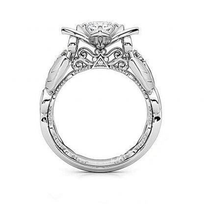 Elegant Flower Leaf Crystal Women Fashion Jewelry Ring