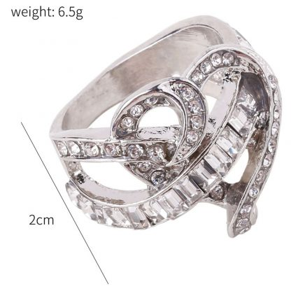 Clear Crystal Heart Women Fashion Jewelry Ring