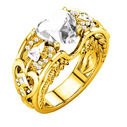 Gorgeous Golden Heart Ring Women Fashion Jewelry