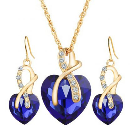 Shining Crystal Heart Women Pendant Necklaces Earrings Sets