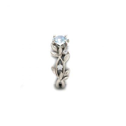 Gorgeous Blue Crystal Floral Leaf Ring Women Jewelry Fashion