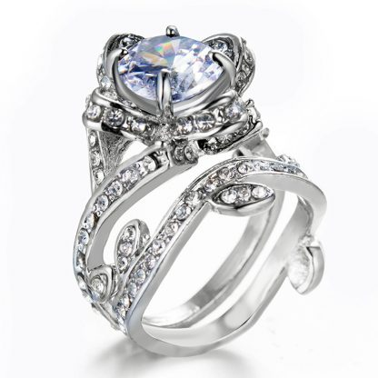 Gorgeous Crystal Floral Women Fashion Jewelry Ring