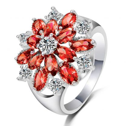 Lovely Red Flower Crystal Women Fashion Jewelry Ring