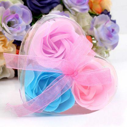 3 Pieces Heart Scented Bath Body Petal Rose Flower Soap
