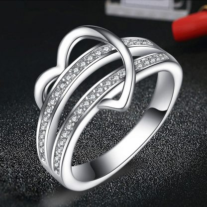 Stylish Heart Crystal Zircon Women Fashion Jewelry Ring