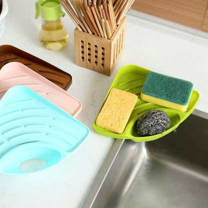 Kitchen Portable Sponges Storage Organizer Sink Corner Shelf