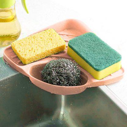 Kitchen Portable Sponges Storage Organizer Sink Corner Shelf