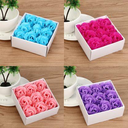 9 Pieces Heart Scented Bath Body Petal Rose Flower Soap