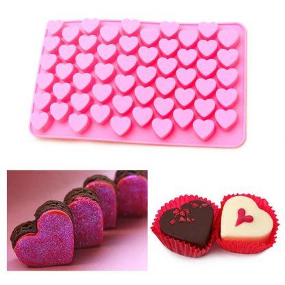 Mini Heart Shape 55 Slots Truffle Soap Ice Cube Silicone Mold