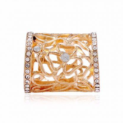 Crystal Rhinestone Floral Design Women Scarf Brooch