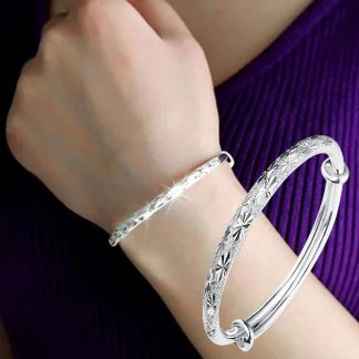 Adjustable Sparkling Bangle Bracelet Women Fashion Jewelry