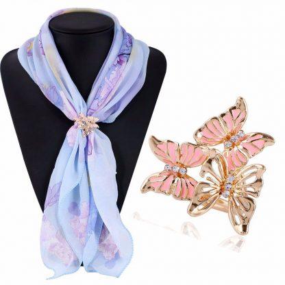Elegant Butterfly Crystal Rhinestones Women Scarf Brooch