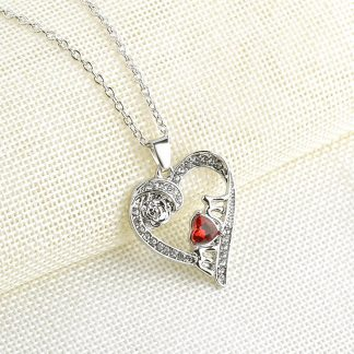 Heart Crystal Women Pendant Necklace Best Mother Day Gift