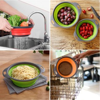 Collapsible Silicone Colander Fruit Vegetable Strainer Washing Basket