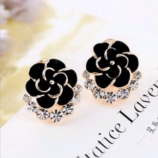 Black Flower Crystal Women Fashion Jewelry Earrings
