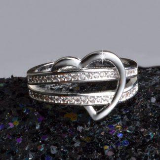 Stylish Heart Crystal Zircon Women Fashion Jewelry Ring